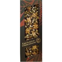 Exclusive hořká čokoláda s vlašskými ořechy piniemi a rozinkami 130g