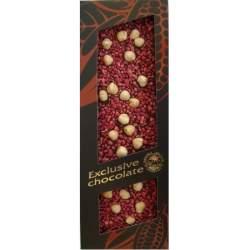 Exclusive mléčná čokoláda s lískovými ořechy a malinami 120g