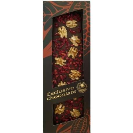 Exclusive čokoláda hořká s vlašskými ořechy a višněmi 120g