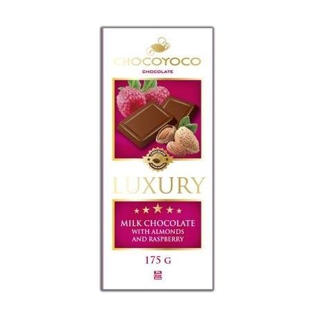 Luxury, mléčná čokoláda s kousky mandlí a částic malin, 175g